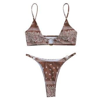 Deux pièces femmes maillot de bain Sexy taille basse string imprimé fleuri couvrir licou Micro Bikini string maillot de bain Bañador Mujer 2021