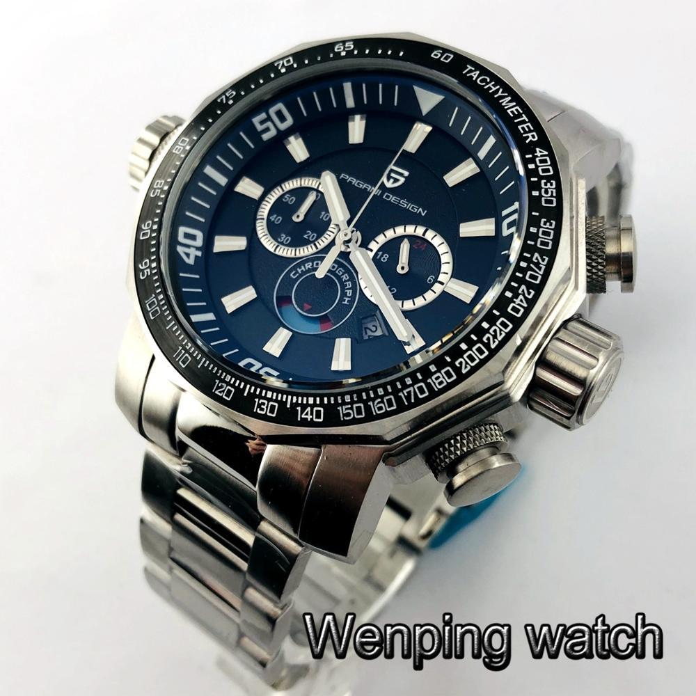 Pagani Design 46mm Mens Top Luxury Big Watches Silver Case Black Dial Multifunction Full Chronograph Quartz Watch