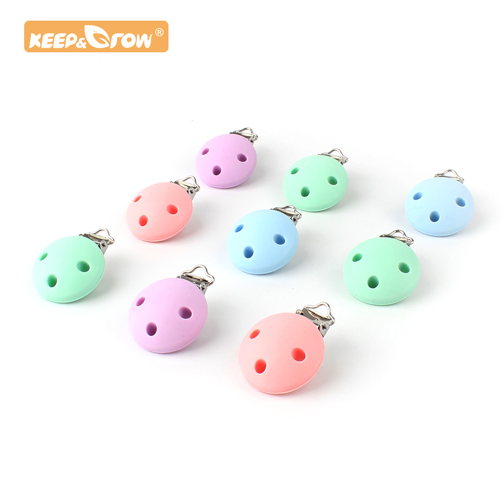 Keep&Grow 10pcs Round Silicone Teether Metal Clip Pacifier Silicone Rodent DIY Baby Teething Necklace Pendant Clamp