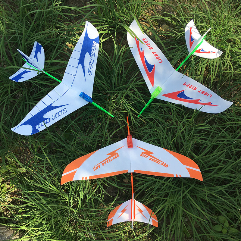 Hand Launch Throwing Glider with lights Foam Aircraft Toy Rubber band airplane Plane Model Outdoor Toy Educational Toys image