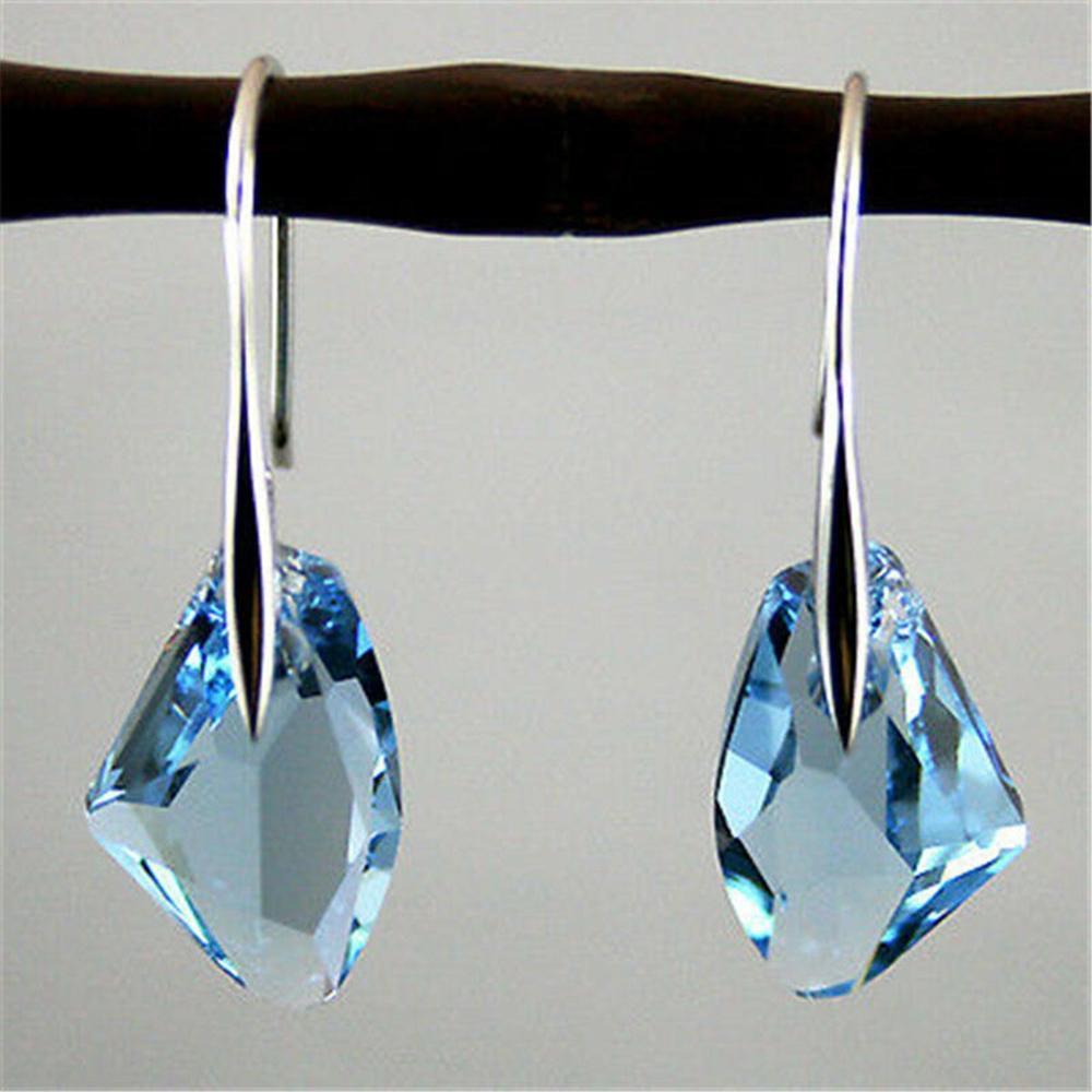 Women Fashion Rhinestone Earrings Dangle Drop Hook Crystal Pea Ear Stud