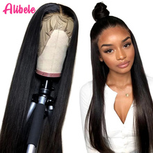 Alibele ישר 13x4 תחרה מול שיער טבעי פאות 150% פרואני רמי שיער טבעי פאה לאפריקני נשים 10 30 אינץ 4x4 סגירת פאה