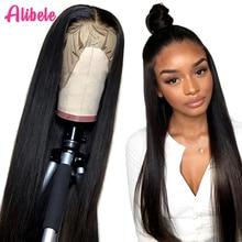 Alibele Peluca de cabello humano con encaje Frontal para mujer, peluca de cabello humano recto con encaje Frontal para mujer africana, cierre Frontal, 13x 4/4x4