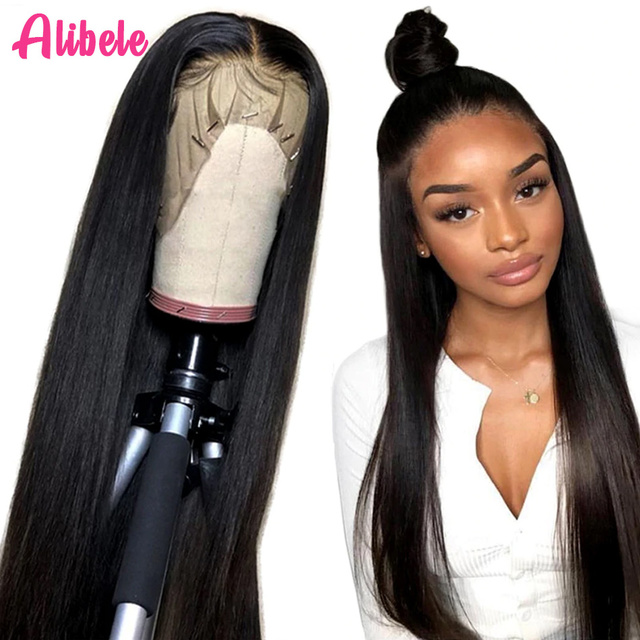 $ US $52.89 Alibele Straight 13x4 Lace Front Human Hair Wigs 150% Peruvian Remy Human Hair Wig for African Women 10-30 inch 4x4 Closure Wig