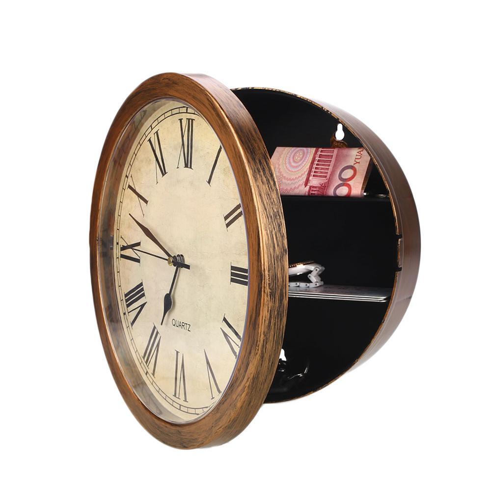 Wall-Mounted Clock Safes Simulation Safe Money Cash Jewelry Secret Storage Safe Box Hanging Clock Security Strongbox