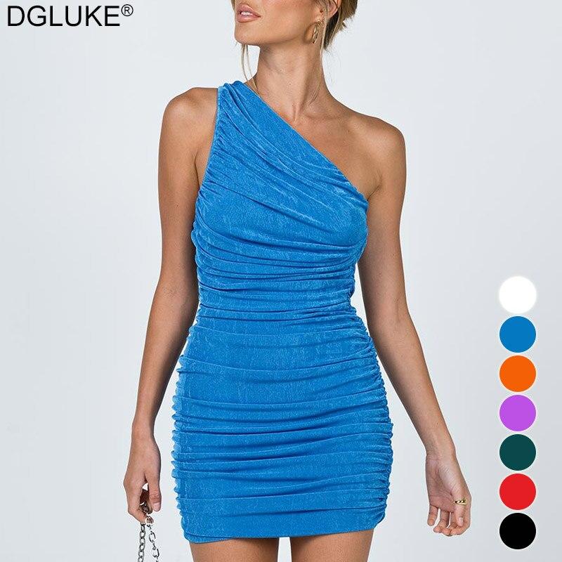 Сексуальное мини-платье на одно плечо платья для женщин в африканском стиле 2021 летнее платье без рукавов с рюшами облегающее платье Синий О...