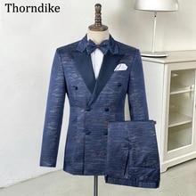 Wedding-Tuxedo Blazers Double-Breasted Suits Costume Jacket Pants Thorndike Male Formal