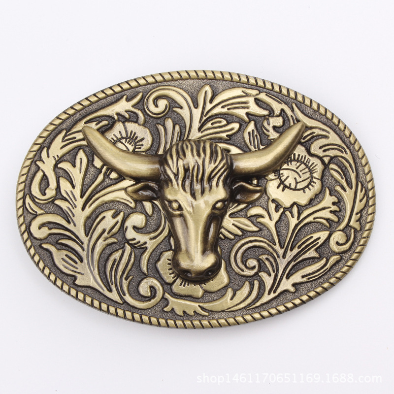 Golden Bull Head Belt Buckle Handmade Homemade Belt Accessories Waistband DIY Western Cowboy Rock Style K54