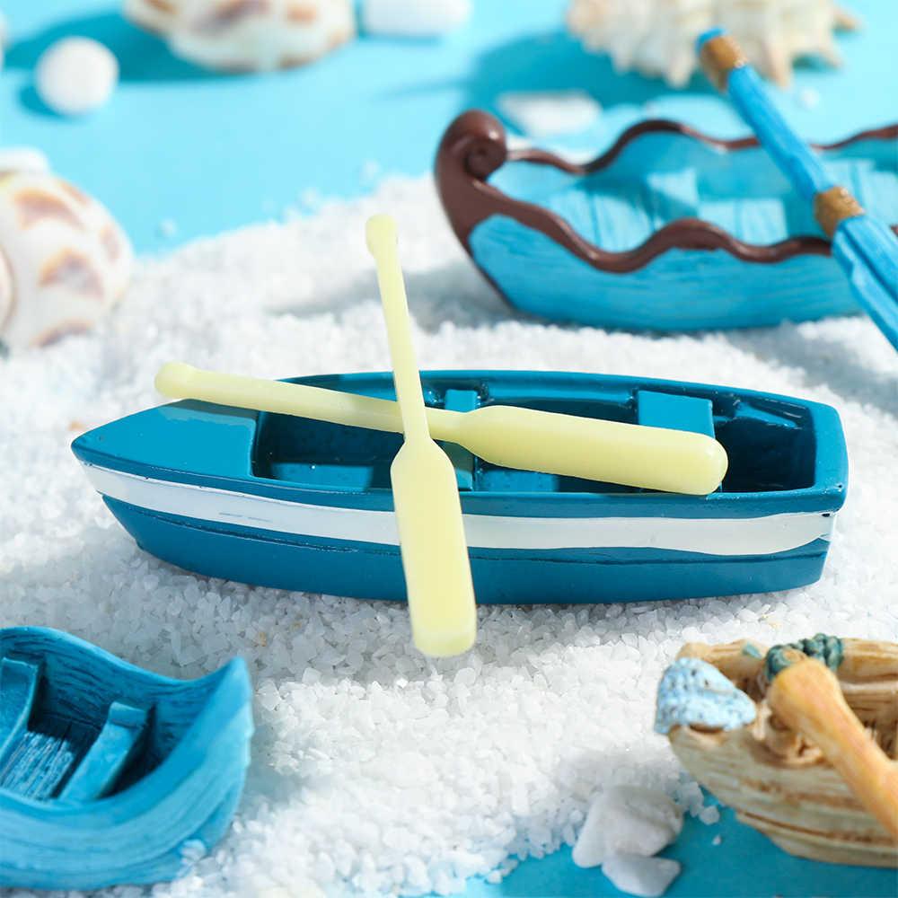 1Set Micro paisaje barco estatuilla adorno de jardín de hadas miniatura barco paleta Artificial casa de muñecas resina artesanía suministros