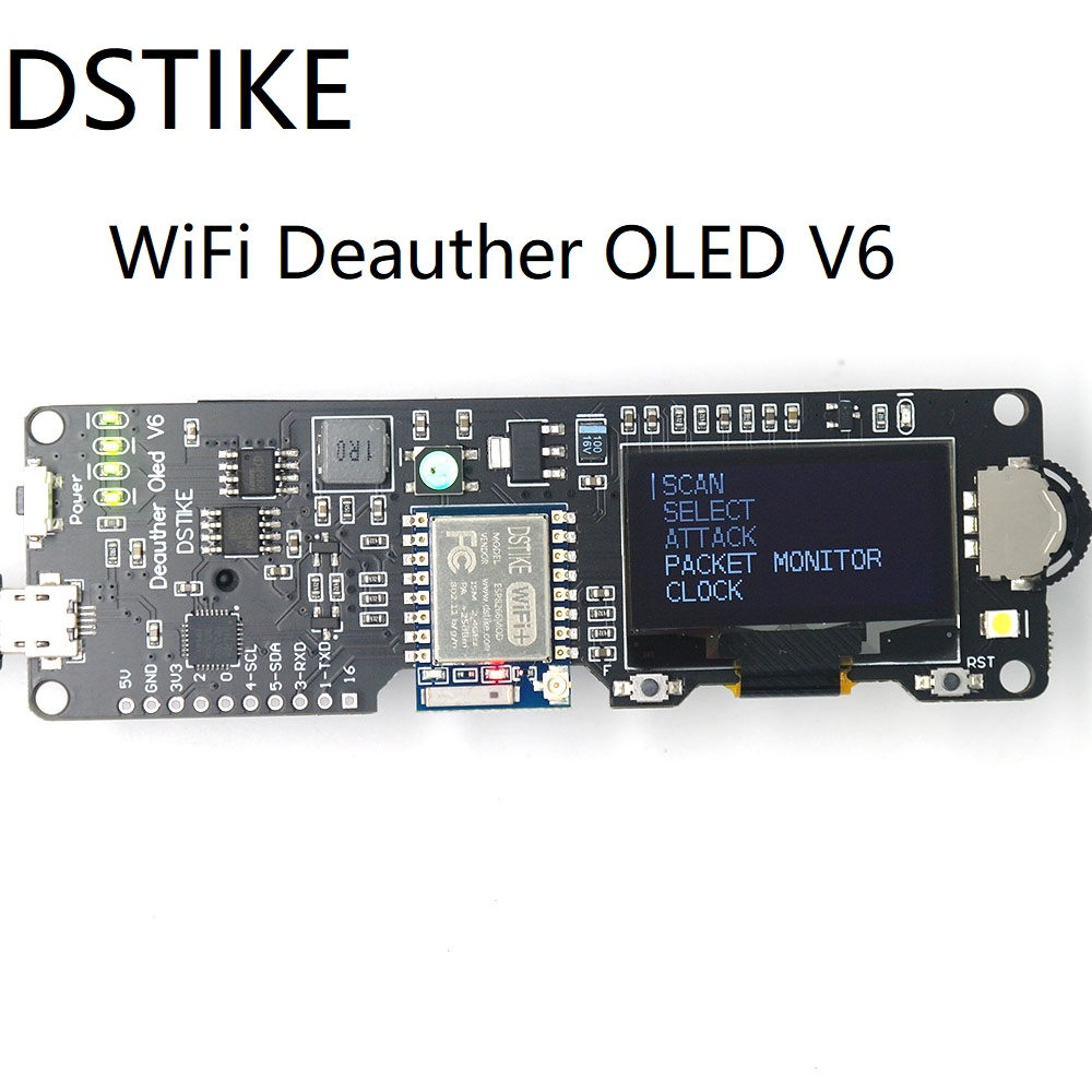 DSTIKE WiFi Deauther OLED V6  ESP8266 Development Board 18650 Battery Polarity Protection  Case  Antenna  4MB ESP-07