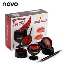Novo Makeup 2pcs/lot Red Wine Glass Jelly Lipstick Cream Double Lip Brush Set Nu