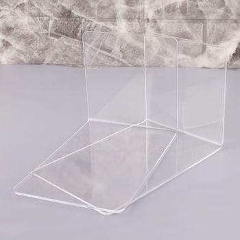 2 sztuk wyczyść akrylowe Bookends w kształcie litery L organizer na biurko pulpit stojak na książkę szkoła papiernicze artykuły biurowe 10166 tanie i dobre opinie