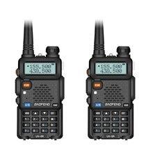 2 pçs baofeng UV 5R rádio em dois sentidos mini portátil 5 w dupla banda vhf uhf walkie talkie uv5r fm transceptor caça presunto rádio scanner