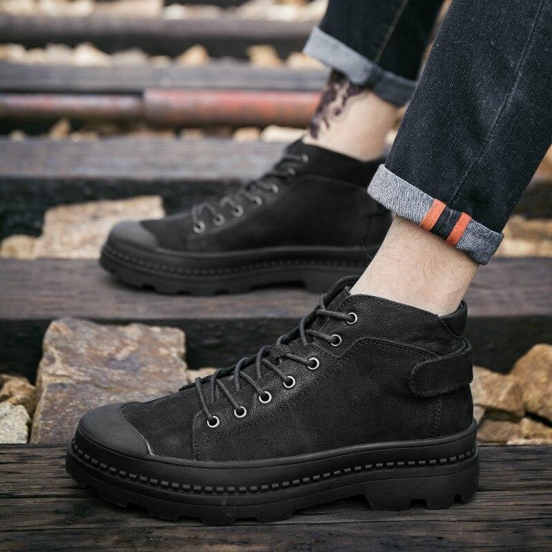 Из полиуретана с открытыми порами ботильоны; ботинки в байкерском стиле в стиле панк из натуральной кожи; обувь с высоким берцем и на высоко... - 4