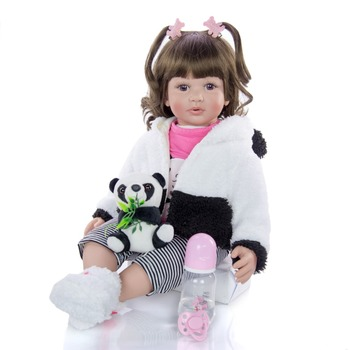 high quality 60cm big bebes reborn toddler princess Silicone vinyl adorable Lifelike Baby Bonecas girl panda clothing doll