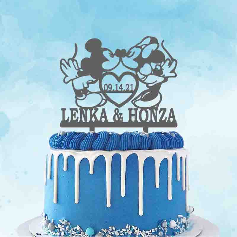 Personalized Wedding Cake Topper Custom Couple Name Wedding Date Cartoon Couple Animals Wedding Party Cake Decoration Topper