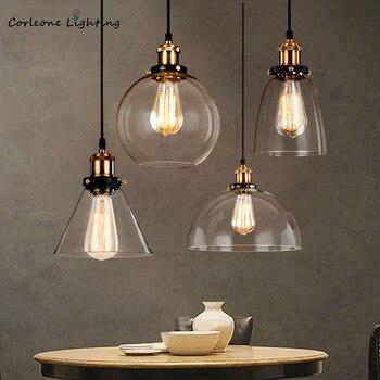 Vintage Glass Pendant Lights American Industrial Loft Hanging Lamp Bedroom Dining Room E27 Home Decor Light Fixtures