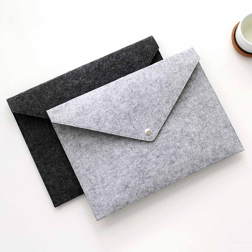 Simple Solid A4 Big Capacity Document Bag Business Briefcase File Folders Felt Filing Bags QJY99