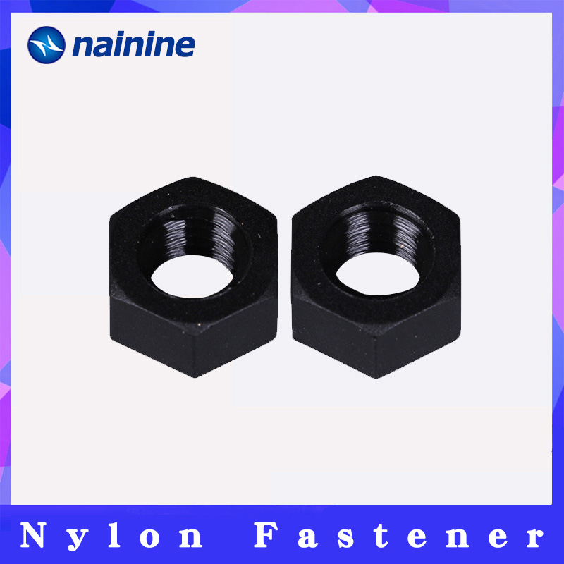 M2 M2.5 M3 M4 M5 M6 M8 M10 M12 Black Plastic Nut Nylon Hexagonal Hex Full Nuts