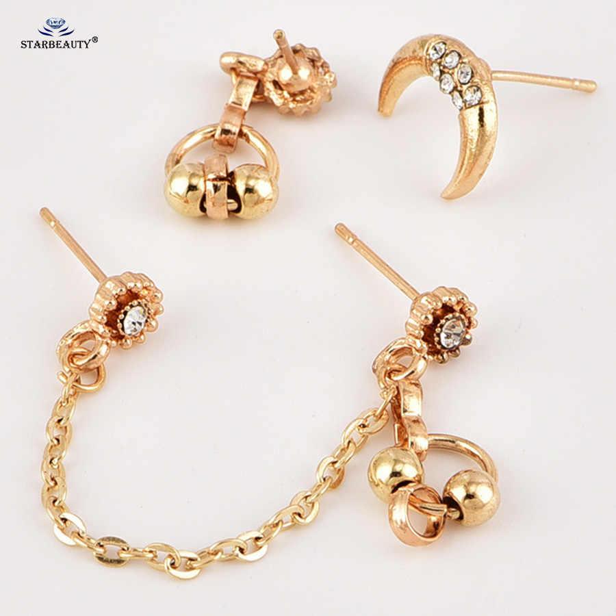 3 Pcs Lot Cz Moon Flower Ear Piercing Helix Piercing Oreja Tassel