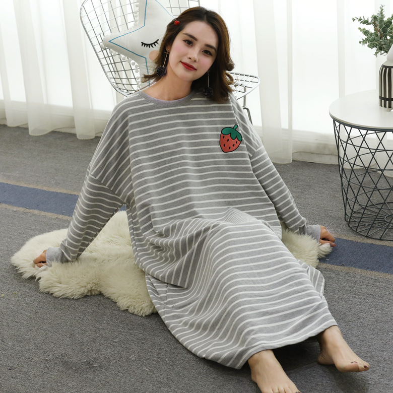 Nightgown Women's Winter Mid-length Cotton Cute Korean-style Fresh Large Size Long Sleeve Pajamas Spring And Autumn Days Outer W