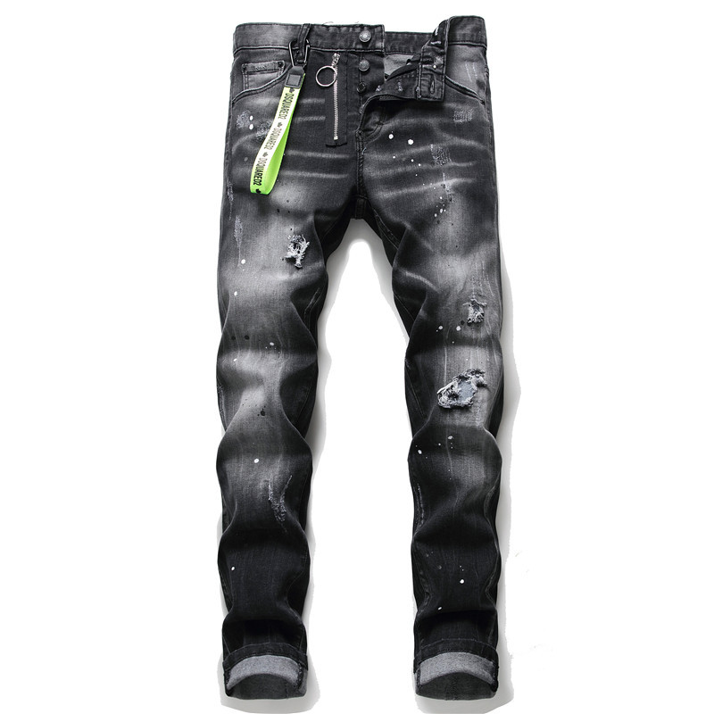 Slim Jeans Pants Trousers Italy Dsq Blue-Hole Black Zipper Mens Denim Brand European title=