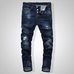 2019 Dsq heren jeans Gedrukt Met Gat Gewassen Casual Skinny Denim Jean voor man 100% katoen Knop Rits