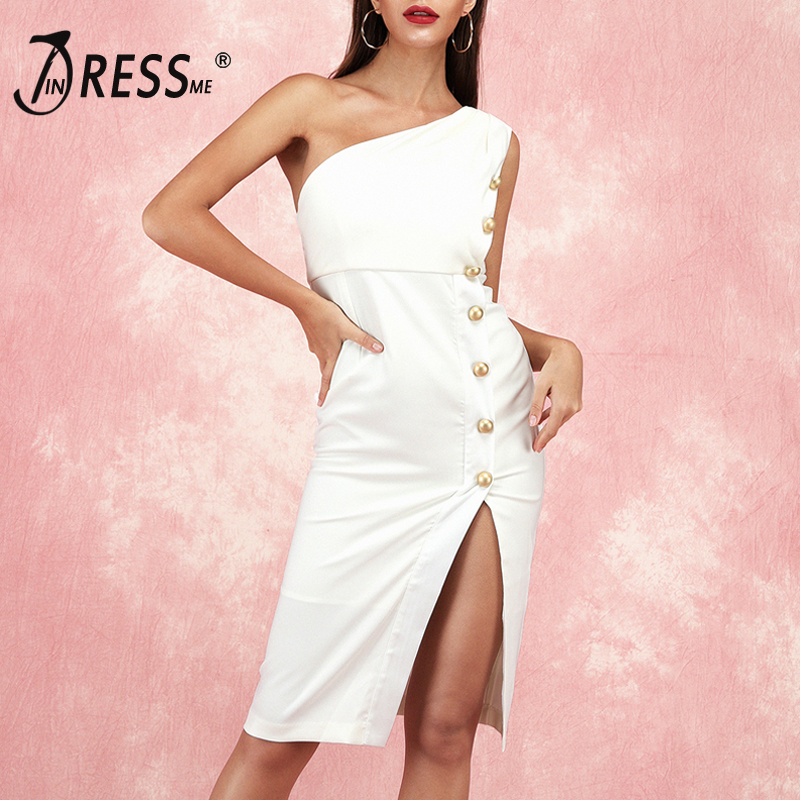 INDRESSME 2019 mode nouveau femmes une épaule sans manches en métal bouton genou-longueur moulante robe Split partie Club Vestidos blanc