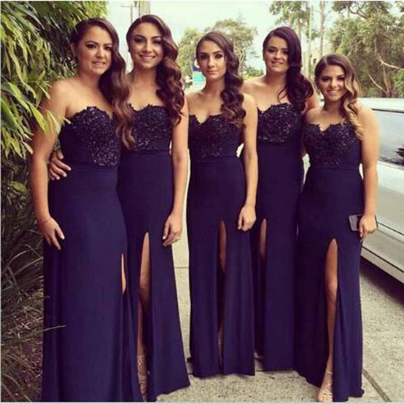 Cheap Appliqed Lace Sleeveless A-line   Bridesmaid     Dresses   Simple Sweetheart Neck Floor Lengh Wedding Party Gown vestido madrinha