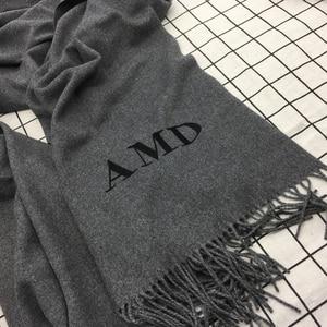 Image 2 - Индивидуальный однотонный шарф с кисточками для женщин, кашемировая зимняя шаль с вышивкой на заказ для женщин и девушек, шарф, массивный подарок