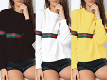 Women Ribbon Stitching Long Sleeve Fashion Sweatshirt Autumn Womens Pullover Soft Ladies Sweatshirts S-2XL THXDOLL