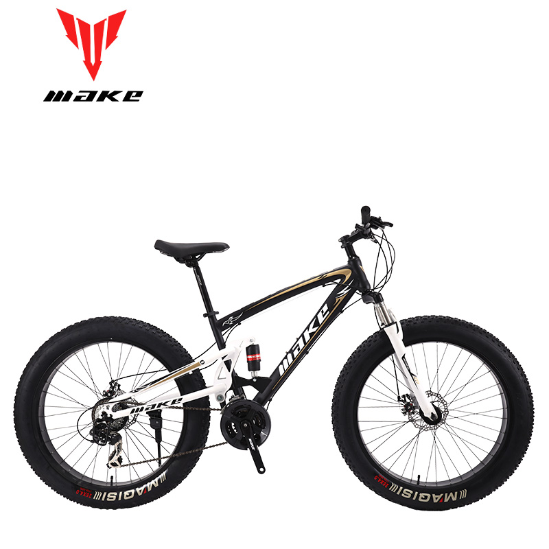 MAKE Mountain Fat Bike Steel Frame Full Suspention 24 Speed Shimano Disc Brake 26
