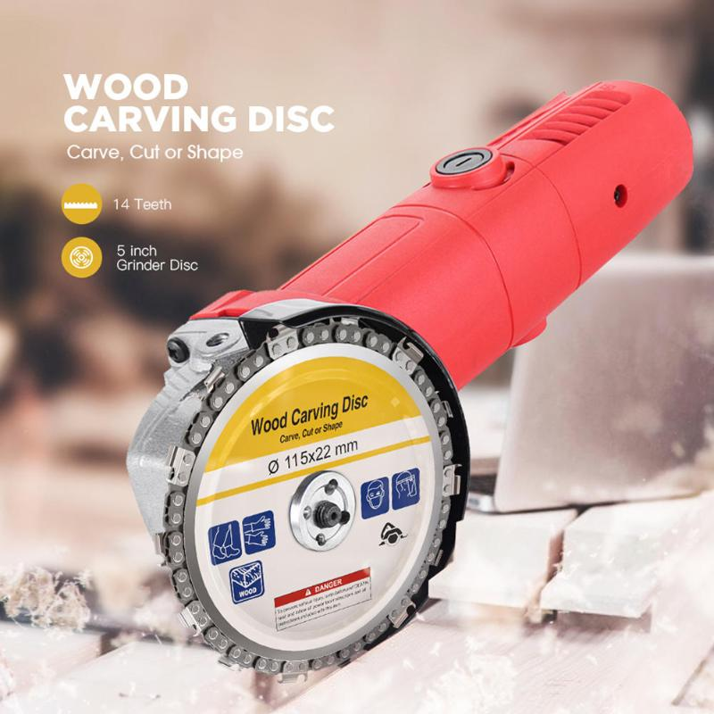 4.5 Inch Wood Chain Grinder Disc Chain Saws Disc Woodworking Chain Plate Tool Multifunctional Wood Carving Angle Turntable