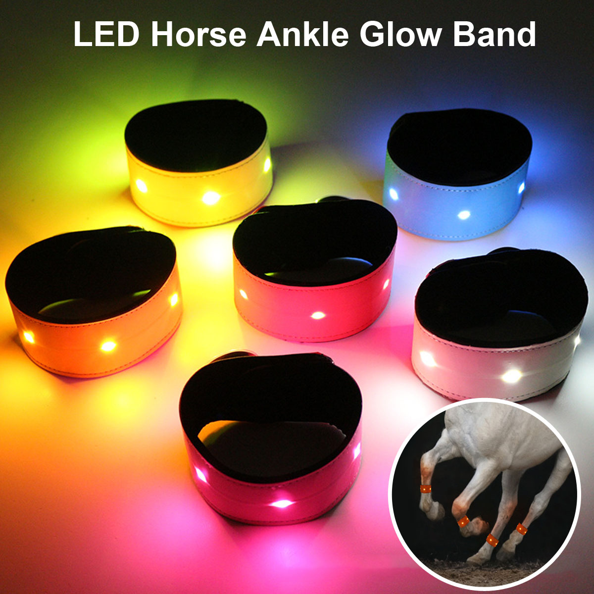 LED Horse Riding Equipment Harness Belt Colorful Lighting Horse Leg Straps Outdoor Sports Equestrian Supplies Cheval Accessories
