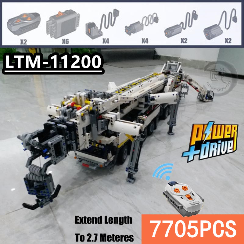 New MOC Power Mobile Crane Building LTM11200 RC Liebherr Technic Motor Kits Blocks Bricks Birthday Diy Toy Gift C104