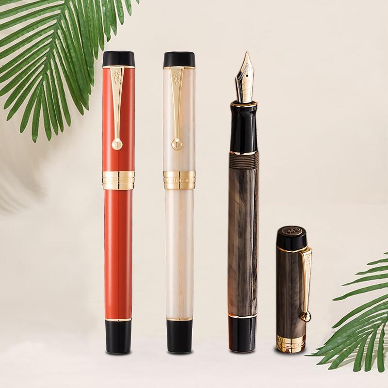 New Jinhao Centennial Resin Mittlere Feder Fullfederhalter Braunrot Fountain Pen Fountain-Pen Pens School Office Supplies Gift