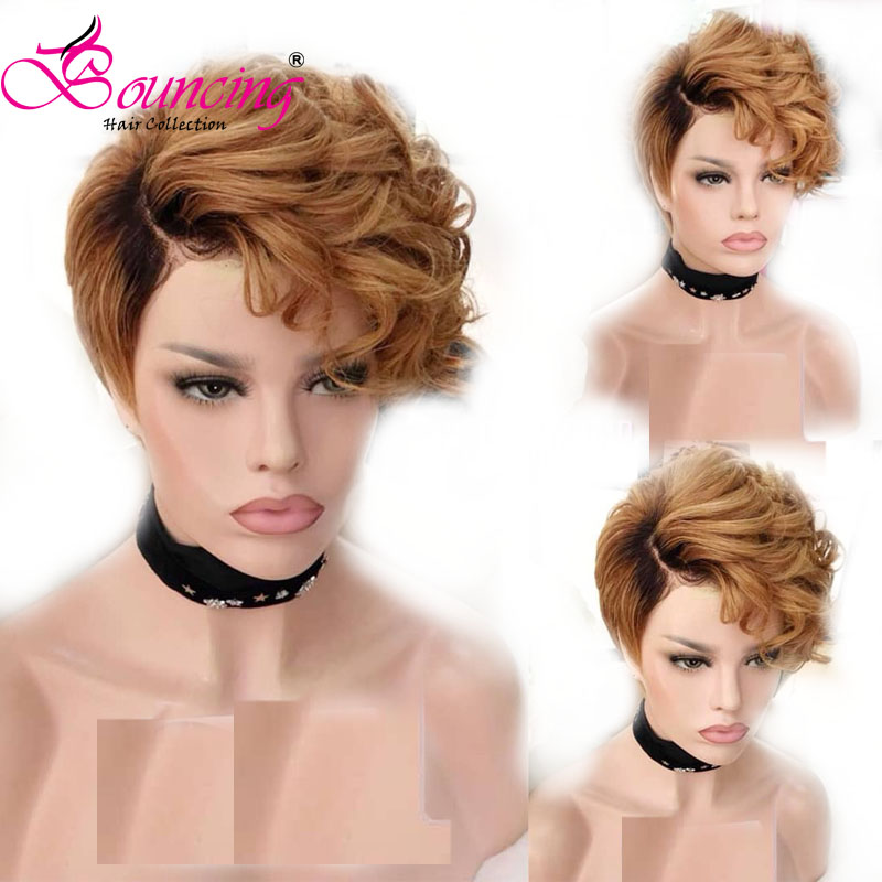 Bouncing Short Cut Pixie Wigs Nature Wave #1b/27 13x4 Lace Front Human Hair Wigs 150 Density Brazilian Remy Human Hair Low Ratio