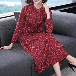 French Style Vintage Dress For Women Elegant Floral Printed Slim Autumn A-line Vestidos Classic Women Party Dresses #LR2