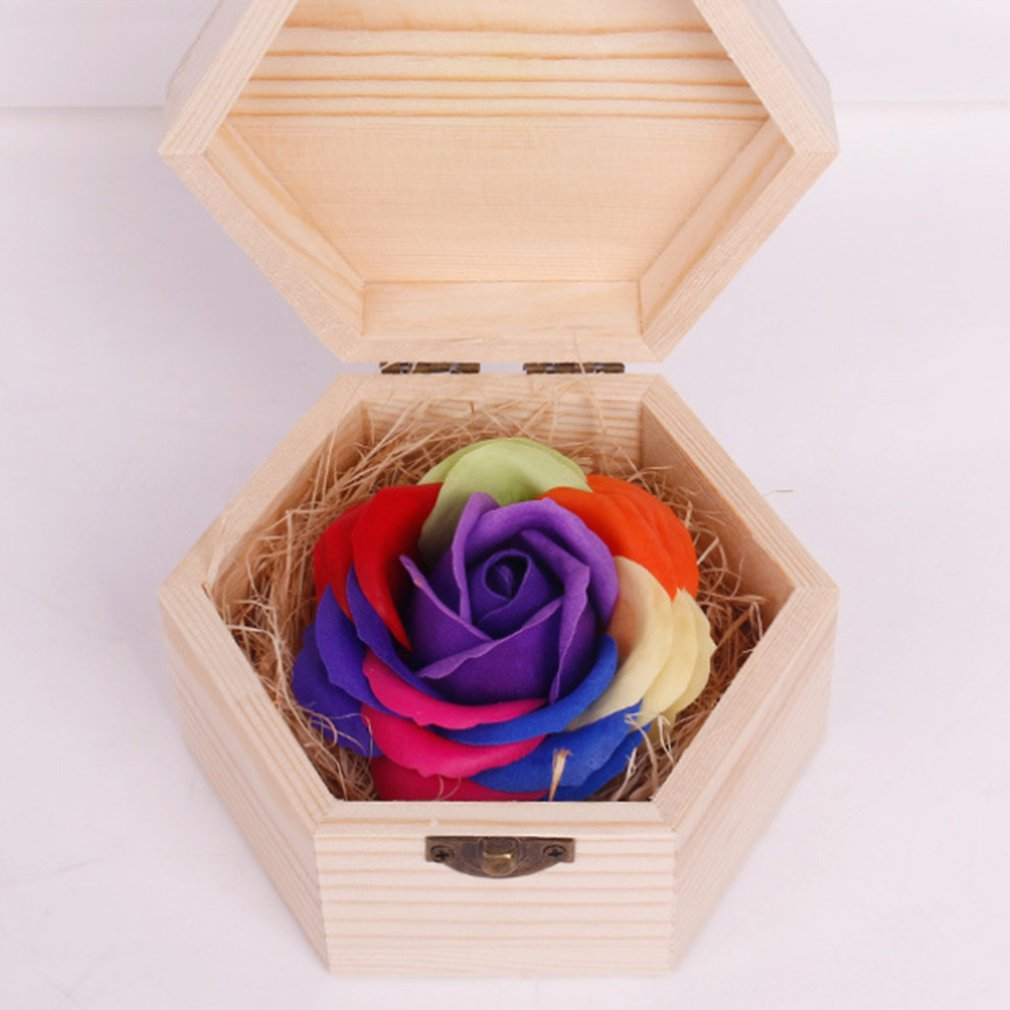 Soft Surface Handmade Wood Carving Box Lovely Soap Flowers Rose Gift Hexagon Box For Birthday Girlfriend's Teacher's Gifts