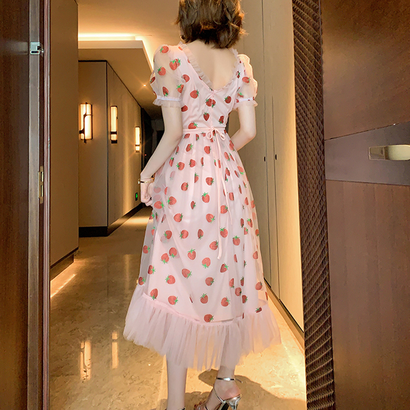 Runway Rhinestone Diamonds Strawberry Pink Mesh Maxi Dress Women Short Puff Sleeve Sexy V-neck Lace-up Bow Tunic Lolita Dress (7)