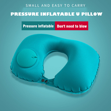 Pressing Automatic Inflatable U Pillow U-shape Air Cushion Pillow Home Office Travel airplane Nap Pillow Neck Protection Pillows u miss functional inflatable neck pillow inflatable u shaped travel pillow car head neck rest air cushion for travel neck pillow