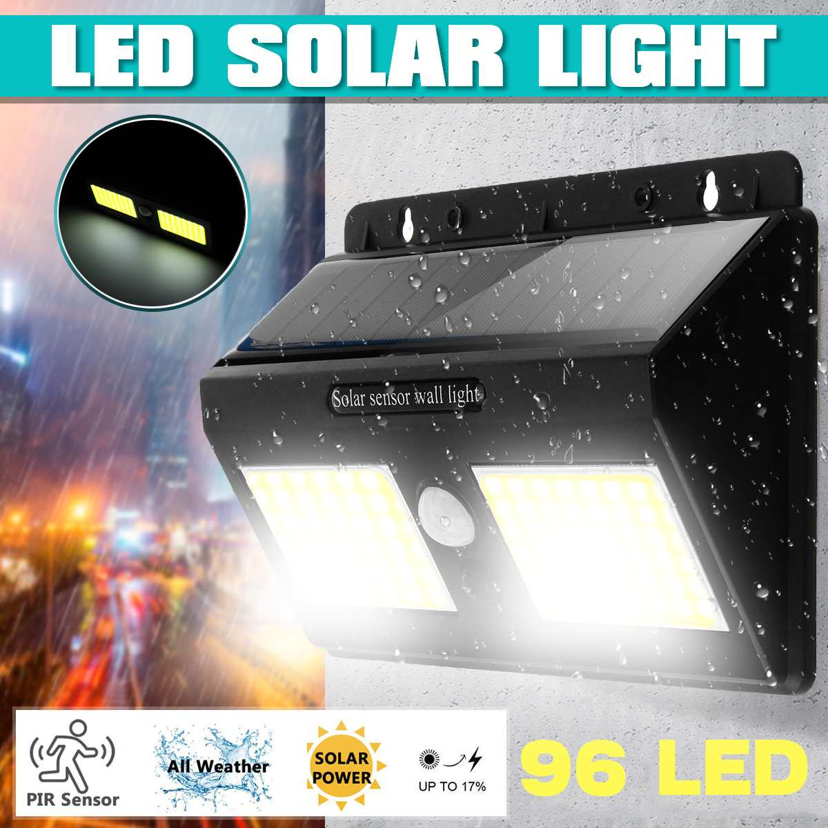 48/96 LED Solar Light Outdoor Solar Lamp Powered Sunlight Waterproof PIR Motion Sensor Street Light For Garden Decoration
