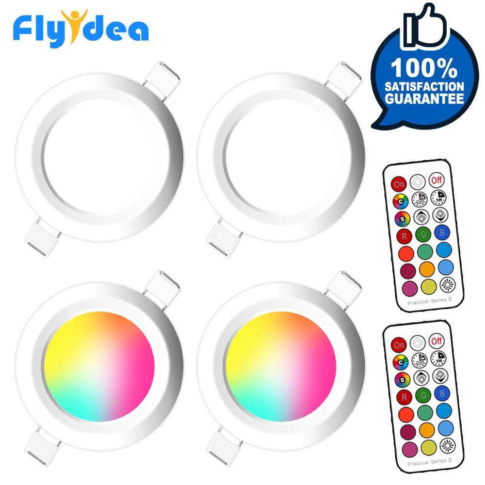 Luz descendente redonda de 7W, faro LED regulable, lámpara empotrable de techo RGB, 220V, 110V, RGBW, iluminación LED de Color para habitación y dormitorio