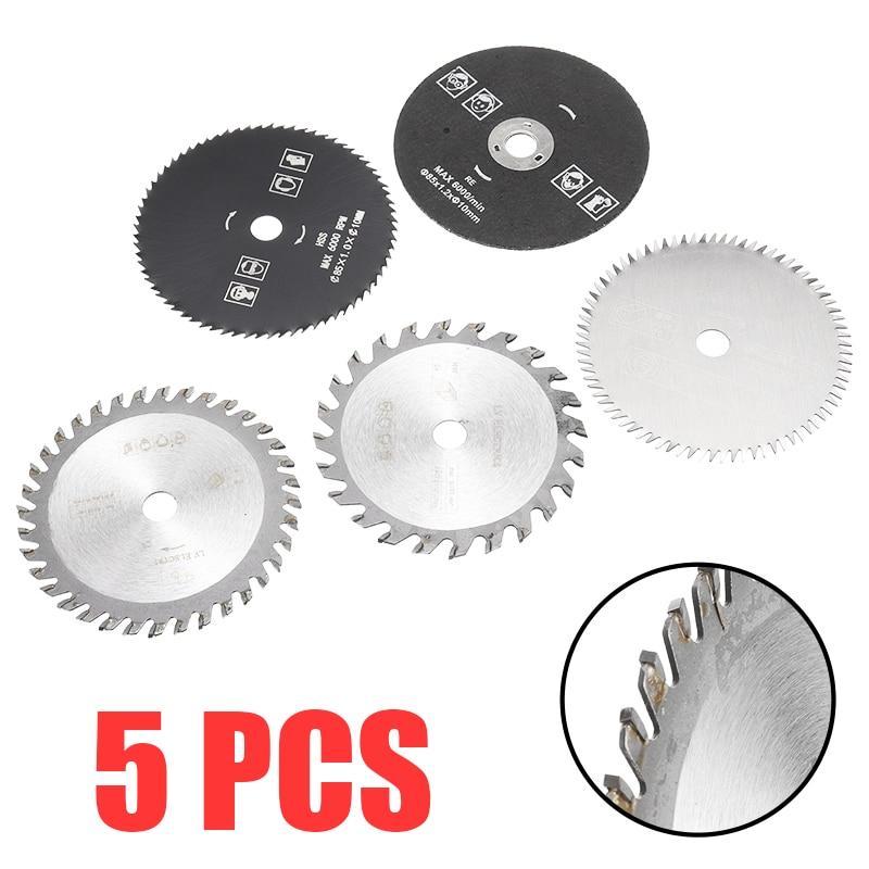 5pcs 85mm 24T/36T/80T/Diamond/Resin Saw Blade Mini Carbide Circular Saw Blade Disc Cutting Woodworking Tool Mixed Assorted Set