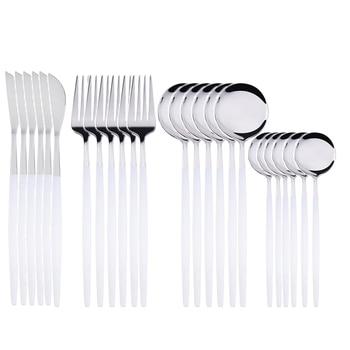 24pcs Cutlery Stainless Steel Tableware Kitchen Cutleri Fork Gold Utensils Dinnerware Set Black Knife Knives Spoon Dinner Travel - China, White Silver