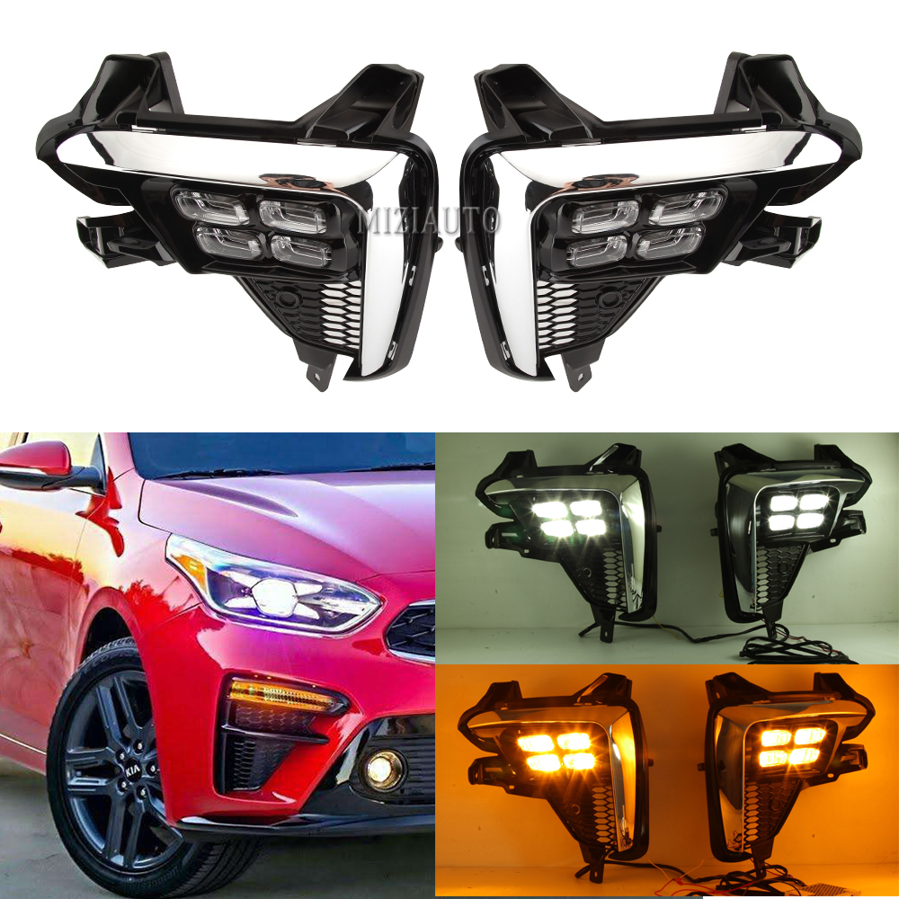 2Pcs LED Daytime Running Light For Kia K3 Cerato 2018 2019 2020 Flowing Turn Signal Relay 12V Car DRL Fog Lamp Foglights