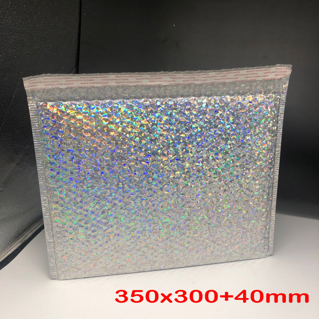 10PCS Laser Silver Mailing Envelope Bags Waterproof Bags Bubble Mailers Padded