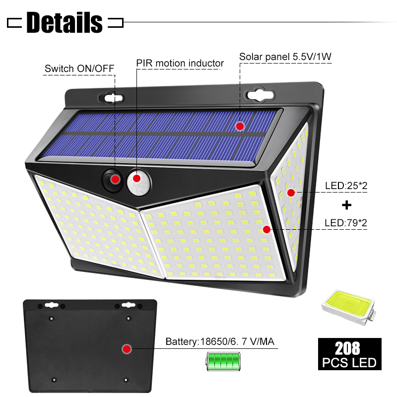 Waterproof and Wireless Ip65 Solar Outdoor Lights with 208 LEDs and 270 Degree Wide Angle Sensor 1