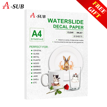 (20pcs/lot) Water Slide Decal Transfer Paper A4 Size for Inkjet Transparent Printing  Clear Inkjet Waterslide Decal Paper