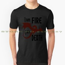 Fire & Death Cool Design Trendy T-shirt Tee Fire Death Smaug Desolation Midden Aarde Tolkien Dale Bilbo Draak(China)